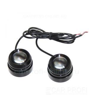 Точечные светодиодные огни CarProfi DRL CP-T7, чёрный корпус 7W CREE (40 мм) 2шт.