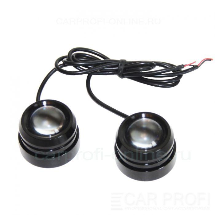 Точечные светодиодные огни CarProfi DRL CP-T7, чёрный корпус 7W CREE (40 мм) 2шт. | параметры