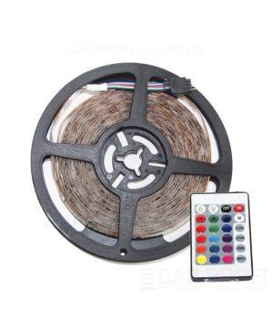 Светодиодная лента CarProfi SMD 3528 RGB, пульт управления, IP65, 60smd/m, влагозащищённая 12V (катушка 5м.)
