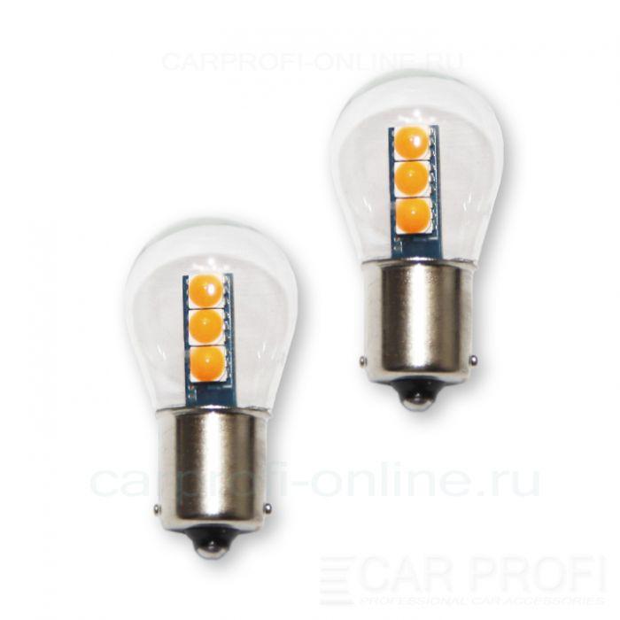 Светодиодная лампа CarProfi CP P21W 18W Yellow (BA15S,S25) 6 SMD 3030, 1156 - 1 контакт (2800K) 1 шт.