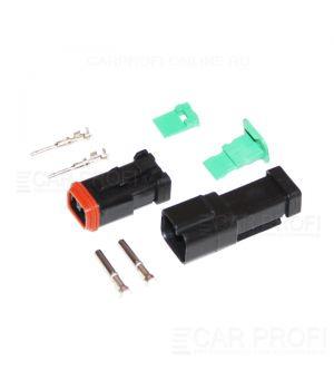 Влогозащищенный разъем CarProfi CP-DT-06-2PIN для подключения светодиодных балок и фар