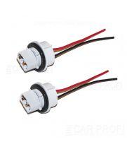 Разъем T20/W21W CarProfi CP-SCT-7440 (1 контакт, пластиковый поворотный с проводами) 1 шт.