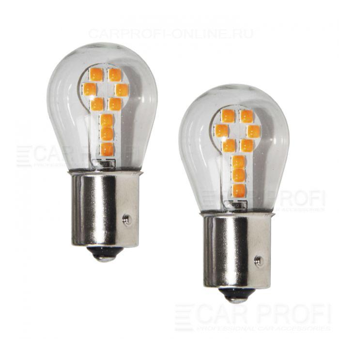 Светодиодная лампа CarProfi CP P21W 9W Yellow (BA15S,S25) 18 SMD 3030, 1156 - 1 контакт (жёлтое свечение) 1 шт.