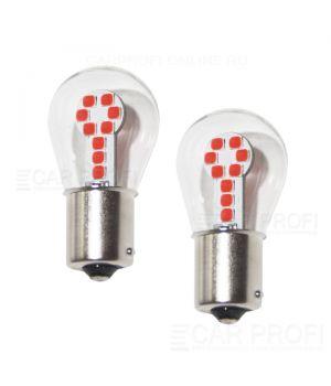 Светодиодная лампа CarProfi CP P21W 9W Red (BA15S,S25) 18 SMD 3030, 1156 - 1 контакт (красное свечение) 1 шт.