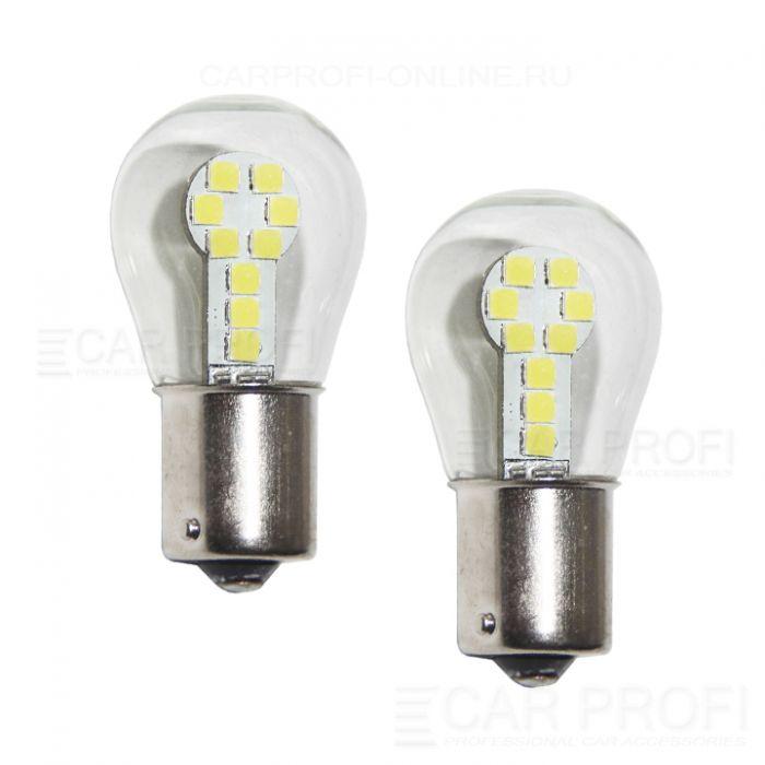 Светодиодная лампа CarProfi CP P21W 9W White (BA15S,S25) 18 SMD 3030, 1156 - 1 контакт (белое свечение) 1 шт.