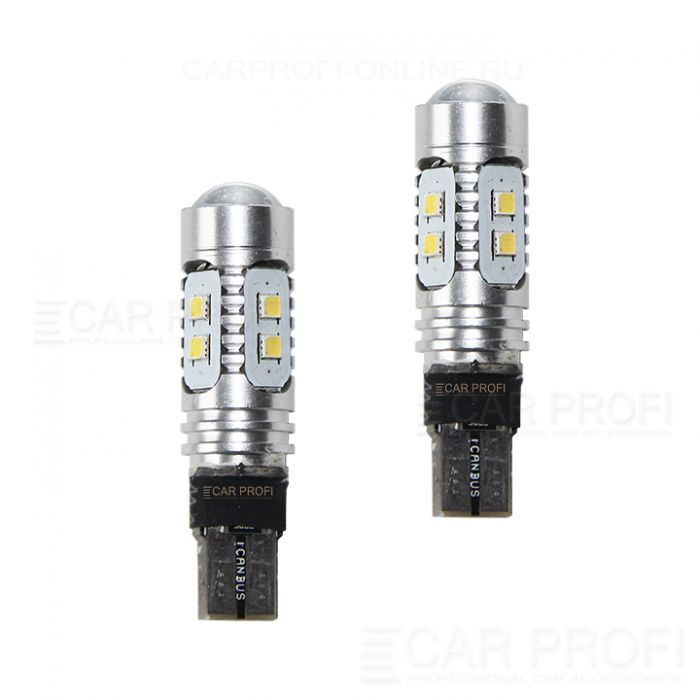 Светодиодная лампа CarProfi CP T10 SMD2323, Samsung chip 10W CANBUS с обманкой (5100K)  2 шт.