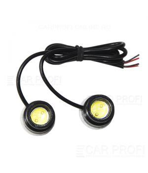 Точечные светодиодные огни CarProfi DRL CP-T1S, Eagle Eyes, 3W HP, крепление на скотч (23 мм) к-т 2 шт.
