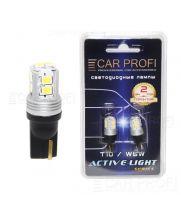 Светодиодная лампа CarProfi T10 10W 10LED 2835SMD Active Light series, с обманкой CAN BUS, 9-32V, 220lm (блистер 2 шт.)