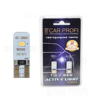 Светодиодная лампа CarProfi T10 2W 2LED Samsung 3623SMD Active Light series, с обманкой CAN BUS, 60lm (блистер 2 шт.)