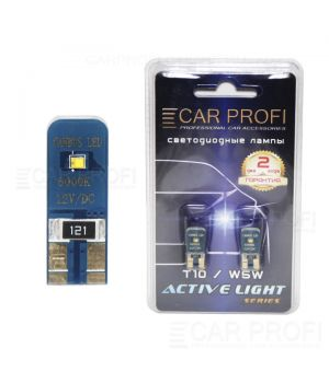 Светодиодная лампа CarProfi T10 6W 2LED PH ZES CHIP Active Light series, с обманкой CAN BUS, 49lm (блистер 2 шт.)
