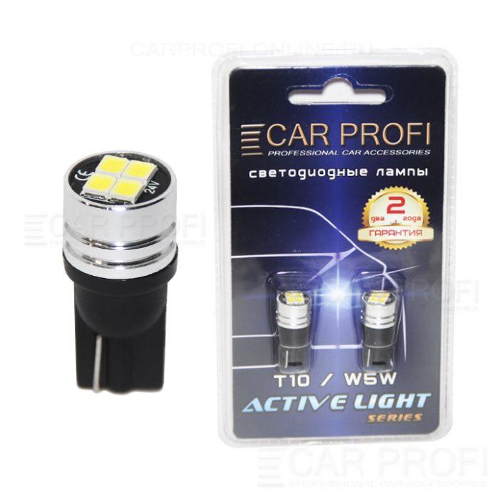 Светодиодная лампа CarProfi T10 4W 4LED 2835SMD Active Light series, 24V, 150lm (блистер 2 шт.)