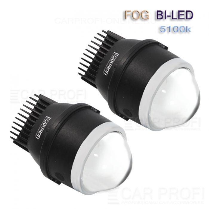 Светодиодные би-линзы в ПТФ CarProfi FOG Bi LED 3.0 дюйма, GENESIS, 5100k (к-т 2 шт.)