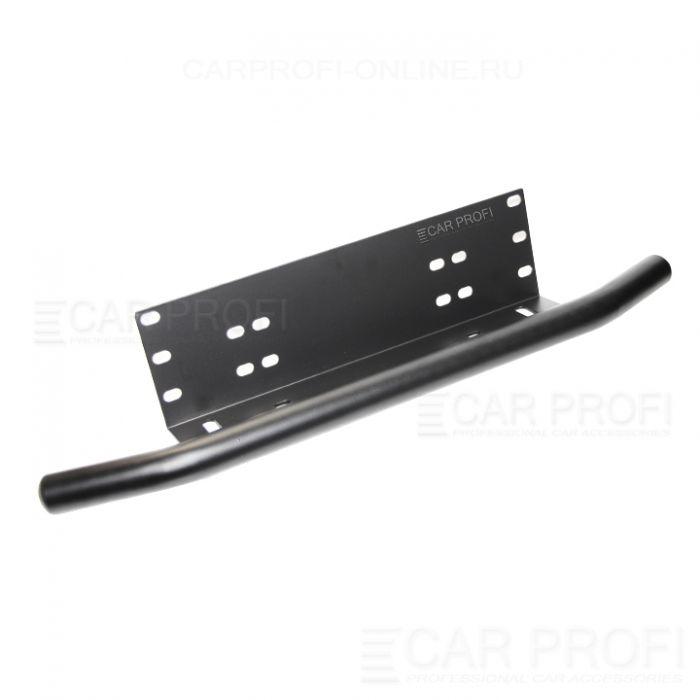 Алюминиевый кронштейн CarProfi CP-BRK-078-BLK-ALM для крепления led фар над номерным знаком, чёрный с трубой