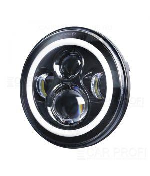 """Светодиодные фары CarProfi СP-LED-7""""-40W-RV2 Black, CREE, DRL/Поворотник (к-т 2 шт)"""