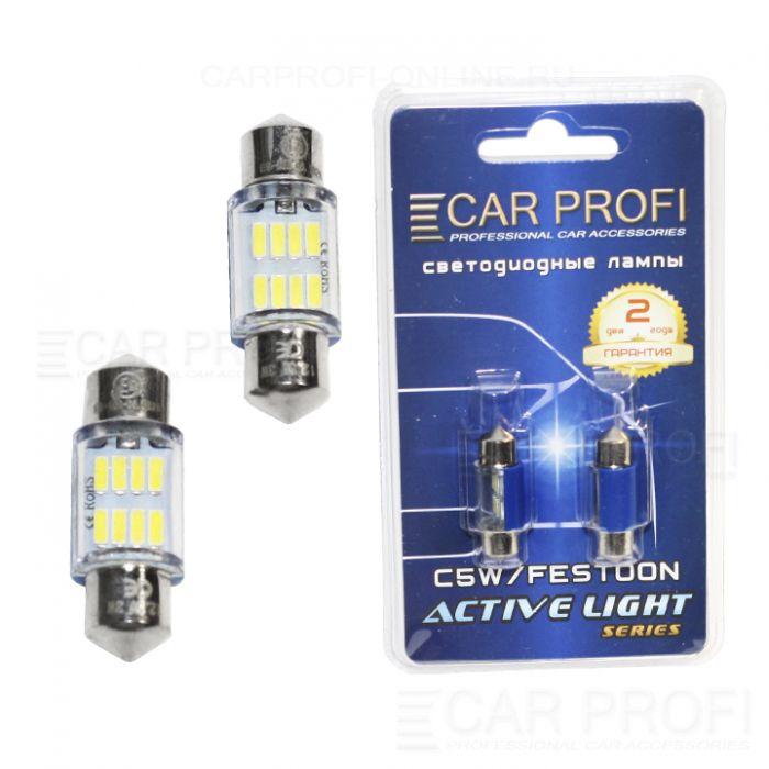 Светодиодная лампа CarProfi FT 8 SMD 3014, 31mm, Active Light series, цоколь C5W, 12V, 65lm (блистер 2 шт.)