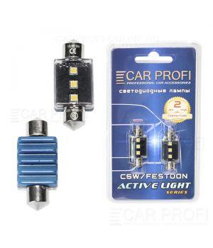 Светодиодная лампа CarProfi FT 3W SMD 3535 CAN BUS, 36mm, Active Light series, цоколь C5W, 12V, 300lm (блистер 2 шт.)
