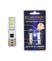 Светодиодная лампа CarProfi T10 6W CERAMIC, 18PCS 3014SMD, Active Light series, с обманкой CAN BUS, 12V, 220lm (блистер 2 шт.)