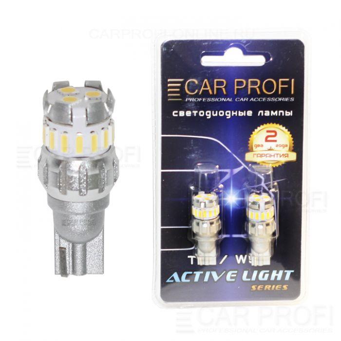 Светодиодная лампа CarProfi T15 (W16W), 18 SMD, Active Light series, с обманкой CAN BUS, 12V, 230lm (блистер 2 шт.)