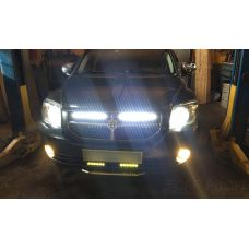 Установка двух балок CarProfi CP-SL- 36 Spot C12 Slim light, 36W, CREE на автомобиль Dodge Caliber
