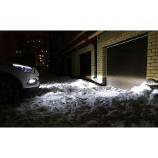 Установка светодиодных ламп CarProfi CP-X5 H11 (H8) CSP на автомобиль Hyundai Santa Fe в ПТФ.